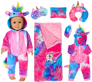 ebuddy 6 Pcs Colorful Tie-Dyed Unicorn Sleepwear Sleeping Bag Set Doll Accessories for 18 inch Our Generation Doll,America...