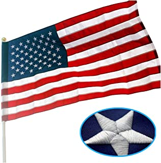 VSVO American Flag Pole Sleeve Banner Style 2.5x4 Ft - Heavy Duty Outdoor Nylon US USA Flags - Embroidered Stars, Sewn Stripes, UV Fading Resistant (Flag Pole is NOT Included)