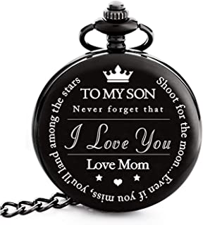 "To My Son | Mother and Son Graduation 2019 Gift - Engraved ""To My Son Love Mom"" Pocket Watch - Perfect Gifts for Son from Mom for Christmas, Valentines Day, Birthday"