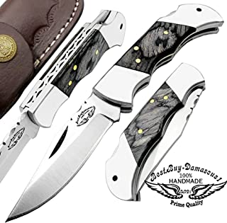 Best.Buy.Damascus1 OTF Knives Double Action Out The Front Safety Knife 440c Steel + Brass Keychain + Oak Wood Stainless Steel Brass Bloster Folding Pocket Knife (Black Wood Custom 5.5'' Pocket Knife)