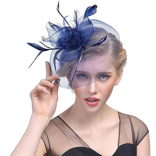 WELROG Women s Vintage Flower Feather Mesh Net Fascinator Hat Party Wedding  Cocktail Sinamay 74b6e7d0595
