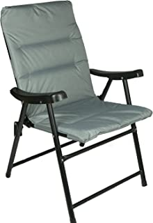 Hyfive Folding Deck Dining Chair For Outdoor Garden Camping With Luxury Padding Grey