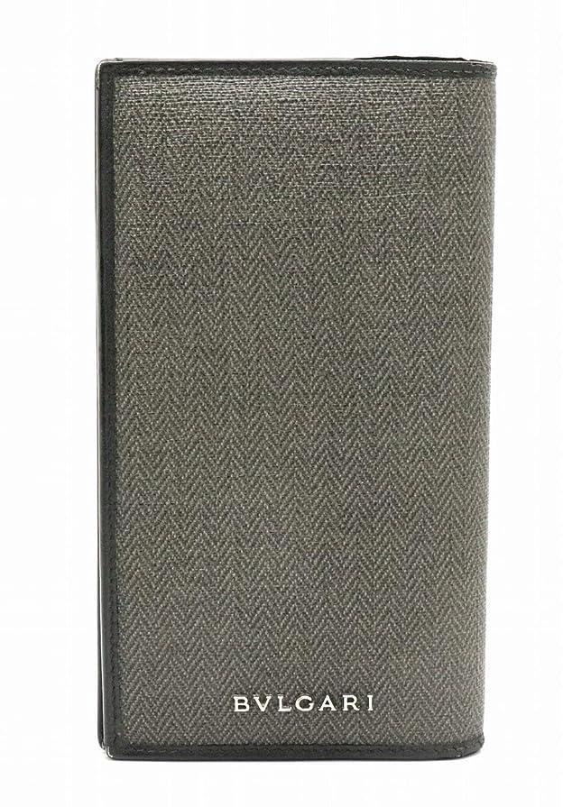雑多なシアー強化[ブルガリ] BVLGARI ウィークエンド 2つ折 長財布 レザー PVC 黒 ブラック グレー シルバー金具 32582 [中古]