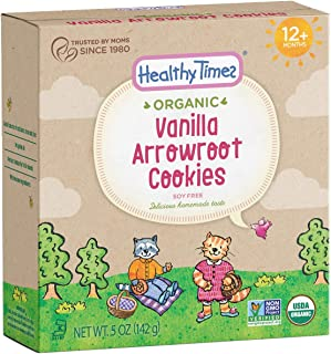 Healthy Times Organic Arrowroot Cookies for Kids, Vanilla | For Toddlers 12 Months and Older | 142 g Per Box, 6 Count