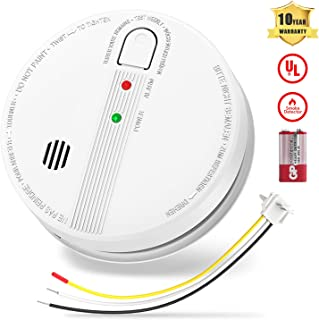 UL Listed Smoke Detector and Photoelectric Sensor Smoke Alarm, Hardwired Fire Alarm with 9V Backup Battery and Mute Function, Interconnection up to 12 Alarms for Home School and Hotel, 10 Years Life