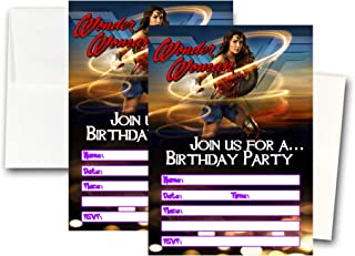 12 Wonder Woman Movie Birthday Invitation Cards (12 White Envelops Included) #1