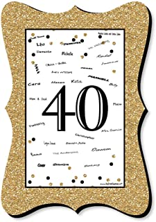 Big Dot of Happiness Adult 40th Birthday - Gold - Unique Alternative Guest Book - Birthday Party Signature Mat