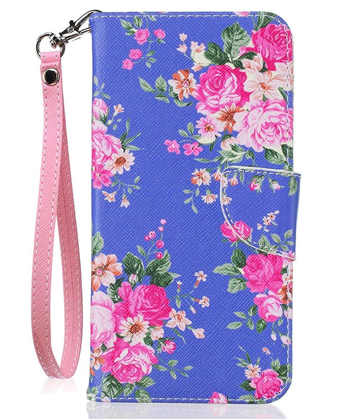 iPhone 8 Plus Wallet Case, iPhone 7 Plus (5.5 Inch) Case, JanCalm [Card/Cash Slots] [Wrist Strap] Design Dual- Use Flip Pattern Premium PU Leather Fold Wallet Pouch Cover + Pen (Purple and Flower)