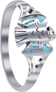 Gem Avenue 925 Sterling Silver Southwestern with Turquoise Inlay Eagle Womens Ring