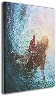 JAWANNA Jesus Reaching Into Water Oil Canvas Paintings Artwork for Walls Decorative Paintings Classical Bedroom Decorations Ready to Hang (Inner Framed)