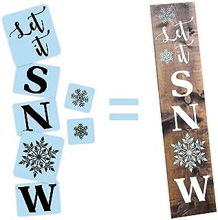Let It Snow Porch Stencil Kit, Reusable & Sturdy, Paint Your Own Wood Sign
