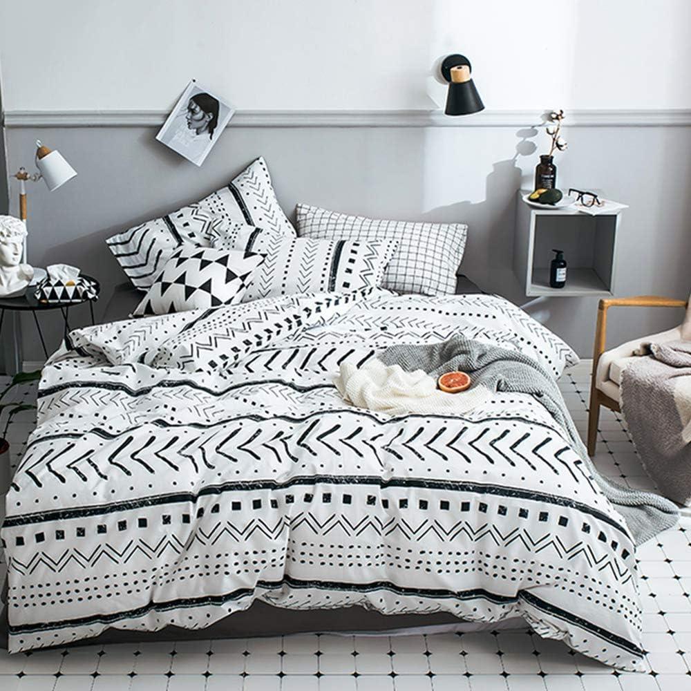 CLOTHKNOW Boho Comforter Sets Queen White Black Farmhouse Bedding Sets Full Aztec Art Bedding Comforter Full Women Men Bohemian Bedding