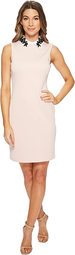 Ivanka Trump - Scuba Sleeveless White Collar Embroidered Dress