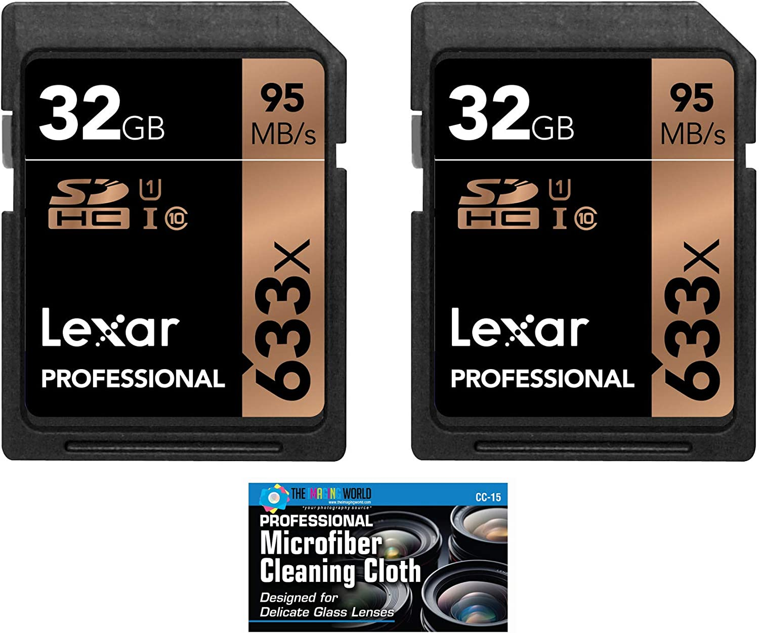 Lexar 32GB Professional 633x SDHC Class 10 UHS-I/U1 Memory Card 2-Pack Bundle (Product Label May Vary)