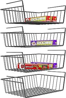 iSPECLE Under Shelf Basket, 4 Pack Wire Rack, Slides Under Shelves for Storage, Easy to Install, Black