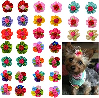 Yagopet 10pcs/pack Dog Hair Bows Cute Bright Flowers Designs Rubber Bands Dog Topknot Bows for Holidays Pet Dog Grooming Bows Supplies Dog Hair Accessories
