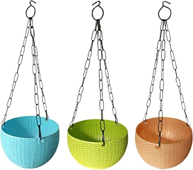 VI Hanging Pots Bowl Medium with Chain (Multicolor, Pack of 3)