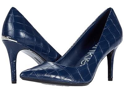 Calvin Klein Gayle Pump (Navy Croc) High Heels