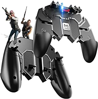 KimTok PUBG Trigger Controller 6 Fingers Metal Button Grip L2R2 Mobile Gaming for All Phones (Black)