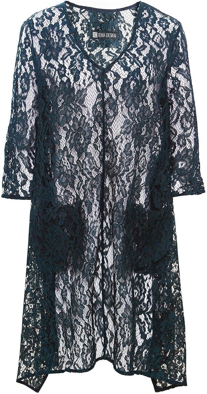 Xenia Design Women's VNeck Alys1 Lace Draped Tunic Top Dark Green