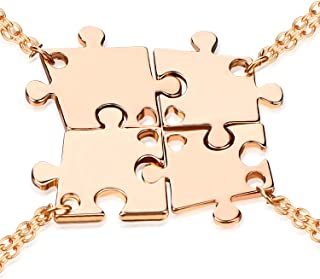 Sister BFF Necklaces for 2/3/4,Fashion Rhinestone Crystal Puzzle Best Friend Pendant Necklaces