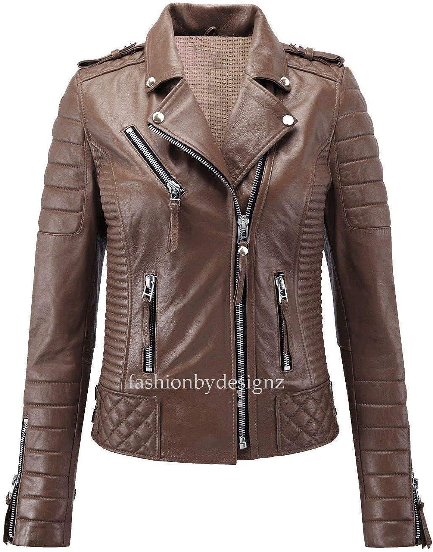 Alishbah Women's Leather Jacket Stylish Motorcycle Biker Genuine Lambskin WJ 292
