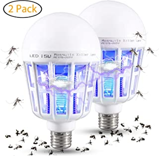 Wellgoo 2 Pack Bug Zapper Light Bulbs, 2-in-1 Mosquito Killer Lamp, Electronic Insect & Fly Killer, Suit for Indoor Outdoor Porch Patio Backyard