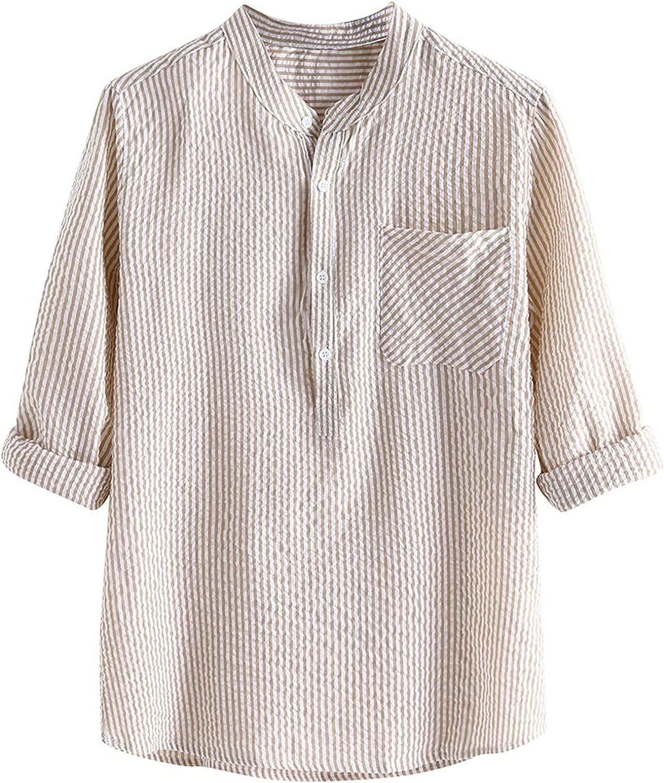 VEKDONE Mens Linen Shirt Long Sleeve Hippie Cotton Linen Henley Shirts Regular-fit Poplin Shirt Casual Beach T Shirts