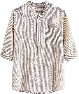 QiFei Herenshirt met opstaande kraag, korte mouwen, button shirts, linnen, V-hals, spiershirt, casual, linnen hemd, zomer,...