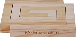 Natural Modern Pine Wood Nesting Trivets for Hot Plates, Pans, and Pots. For Kitchens, Tables, and Countertops. By Moderne Chateau … (Square)