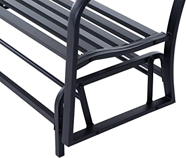 Outsunny Outdoor Swing Glider Gliding Chair Rocking Loveseat for 2 Person, Patio Double Seat with Steel Frame, Black