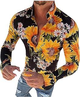 waotier Camisetas de Manga Larga Camisa Estampada de Flores de Manga Larga Casual Estilo Hawaiano para Hombre Blusa Delgad...