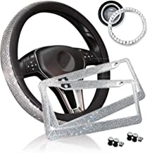 Zone Tech Shiny Bling Car Accessories Set - Premium Quality Crystal License Plate Frame with Mounting Screws, Cystal Steering Wheel Cover, and Ring Emblem Sticker for Button Key and Knobs