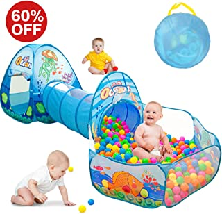 SUNBA YOUTH Kids Tent with Tunnel, Ball Pit Play House for Boys Girls, Babies and Toddlers Indoor& Outdoor(Balls Not Included) (Blue)