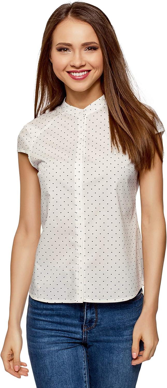 oodji Ultra Women's Stand Collar Shirt with Short Raglan Sleeve