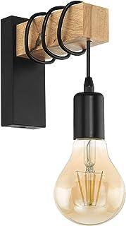 EGLO Lampe Murale Townshend, Applique Murale Vintage à Flamme au Design Industriel, Lampe Rétro en Acier et en Bois, Coule...