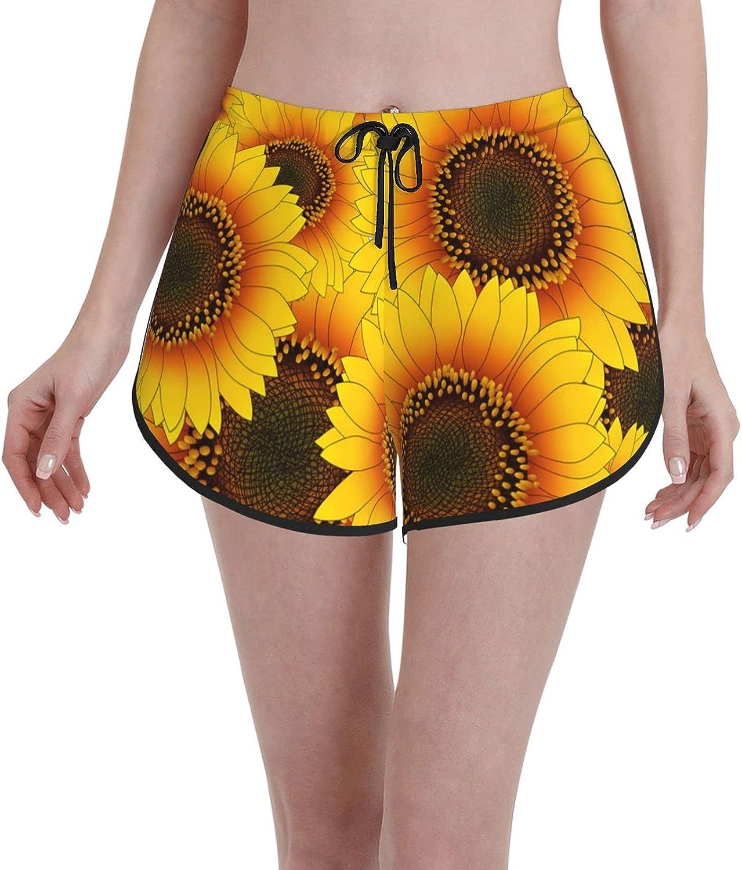 carati Bargain sale Women Beach Shorts White Casual Super sale Girl Sw Sunflowers