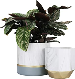 LA JOLIE MUSE White Ceramic Flower Pot Garden Planters 6.7 + 5.4 Inch Indoor, Plant Containers in a Marble Ink Pattern wit...