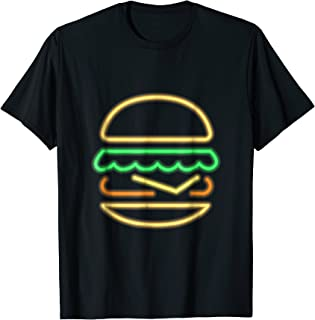 Burger Neon Tshirt - Style of a Classic 80s Retro Neon Sign