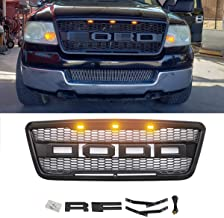 Haitzu Front Grill Fit for 2004 2005 2006 2007 2008 Ford F150 with Amber Lights and Replaceable Letters - Black