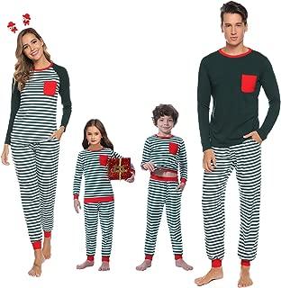 Abollria Matching Family Christmas Cotton Striped Pajamas Set Sleepwear PJS Set for Women/Men/Boys/Girls