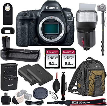 "$2799 » Canon EOS 5D Mark IV Full Frame DSLR Camera Body - with Pro Battery Grip, TTL Flash, Canon Pro Backpack,128GB Memory, LP-E6N Replacement Battery, 72"" Monopod, RC-6 Wireless Remote, and More. 19 Item"
