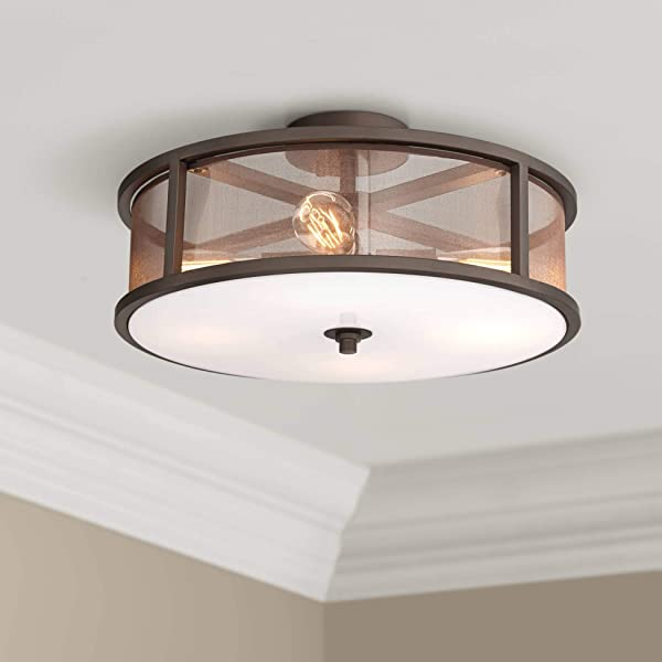 Nadia Modern Industrial Ceiling Light Semi Flush Mount Fixture Oil Rubbed Bronze 18 3 4 Wide 4 Light Brown Organza Fabric Drum For Bedroom Kitchen Living Room Hallway Bathroom Possini Euro Design