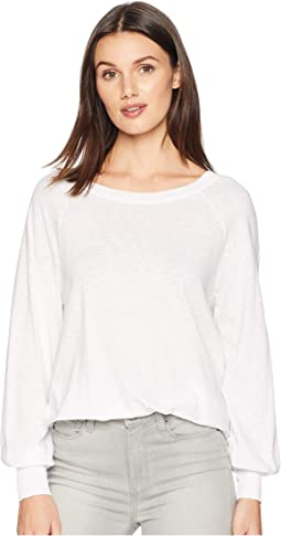 Supima Cotton Slub Puffed Long Sleeve Boat Neck Top