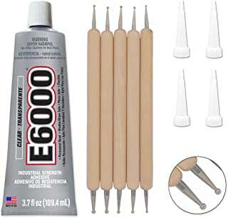 Bundle - E6000 3.7 Ounce (109.4mL) Tube Industrial Strength Adhesive for Crafting, 4 Snip Tip Applicator Tips and Pixiss Art Dotting Stylus Pens 5 pcs Set