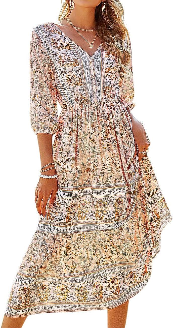Rocorose Women's Summer Maxi Dresses Flowy V Neck 3/4 Sleeve Wrap Casual Beach Floral Boho Dress