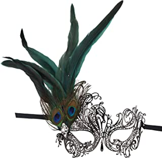 Masquerade Metal Mask,Rhinestone Peacock Feathers Venetian Halloween Costume Mask