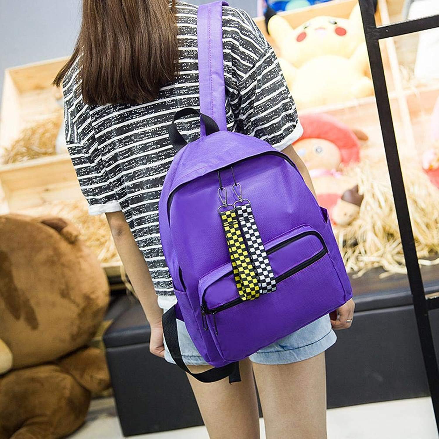 Mayanyan The Korean Version of The Pure color Shoulder Bag High School Students Hundred Simple Artistic Backpack