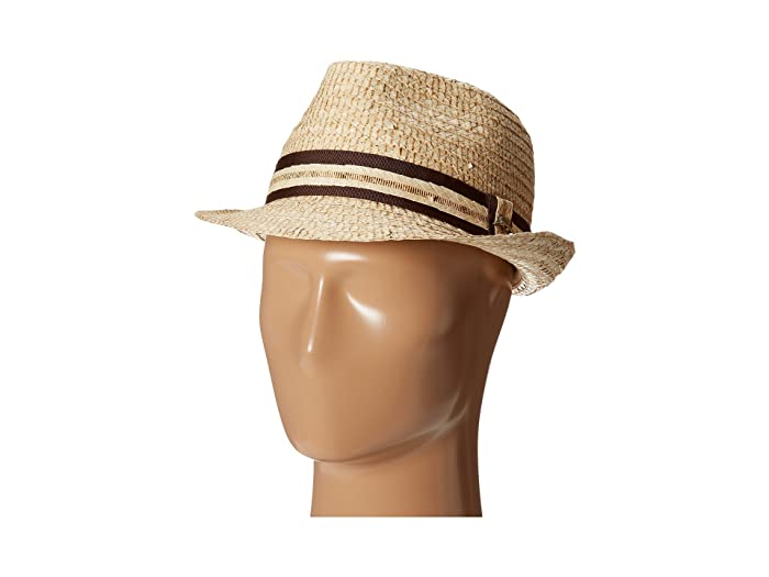 Tommy Bahama Buri Straw Fedora with Contrast Trim (Natural) Traditional Hats