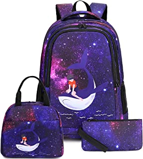 Galaxy Backpack for Girls Kids School Backpacks Cute Roomy Schoolbag with Insulated Lunch Box and Pencil Case Students Cas...